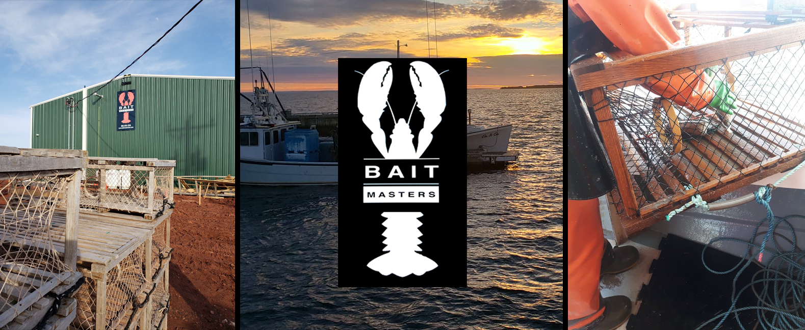 Banner: our facility, boats on the water, a fisherman loading a lobster trap
